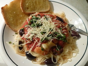 Capellini Pomodoro made with plum tomatoes.