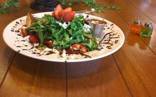 Spring greens, spinach, strawberries with balsamic dressing.