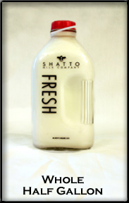 glass half gallon container of Shatto milk