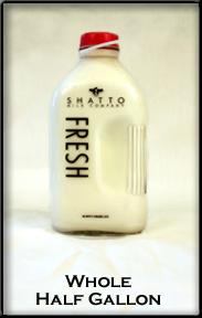 glass half gallon container of Shatto milk